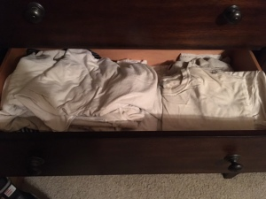Drawer filled with undershirts