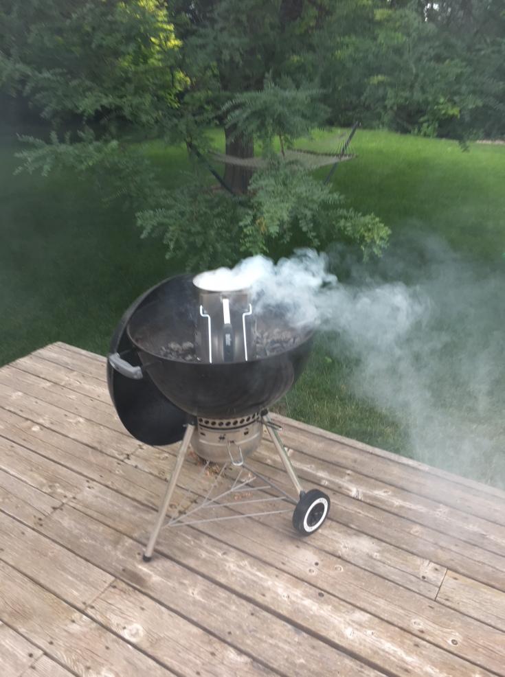 chimney starter in Weber grill
