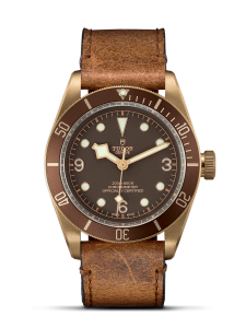 Tudor Heritage Black Bay Bronze watch on leather strap