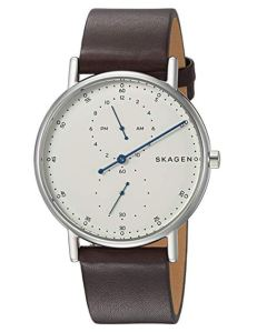 Skagen Signatur Maroon Leather Strap Watch