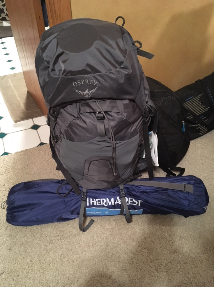 Packed backpacking pack for scout camp