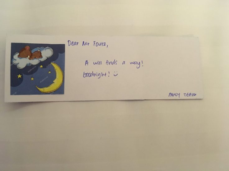 Dear Mr Foutz card Amoy Hotel Singapore