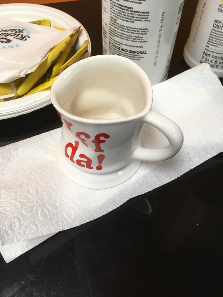 Uff Da coffee mug mess