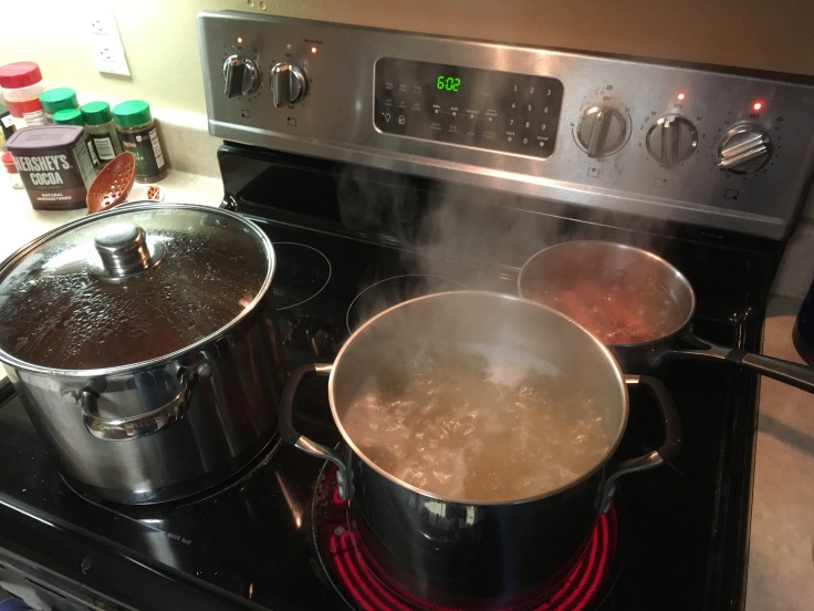 Three pots boiling