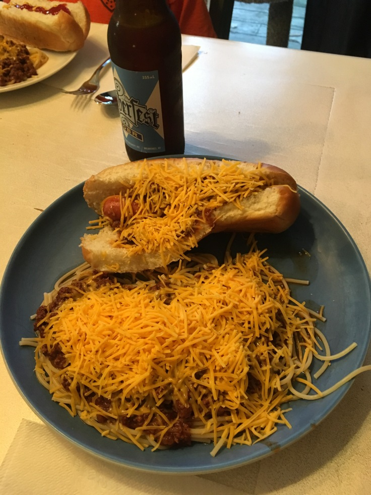 Homemade Skyline Chili and Cheese Coney