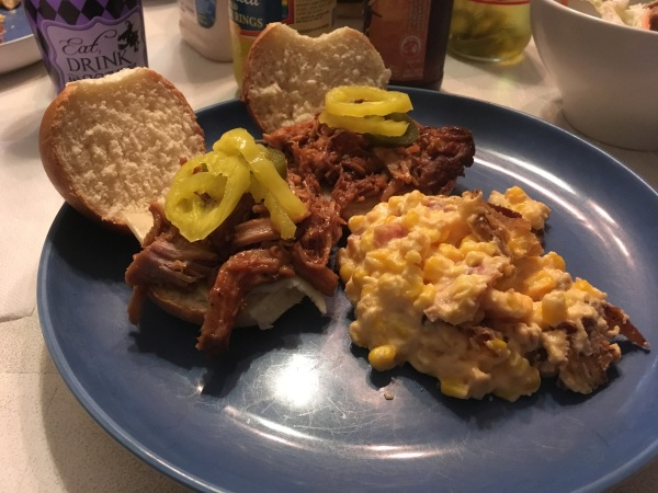 Pulled Pork sliders with cheesy corn