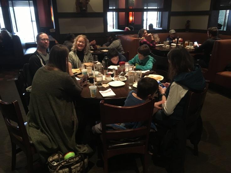 Family dinner at Jack Stack Barbecue Kansas City