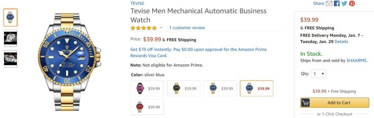 Crappy Tevise watch actually listed on Amazon