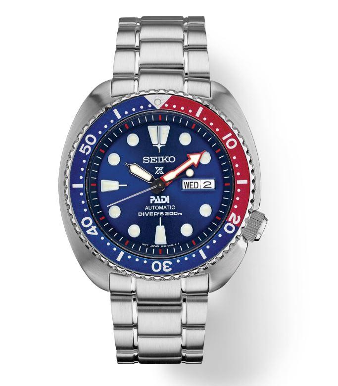 Turtle PADI blue dial, Pepsi bezel, bracelet.