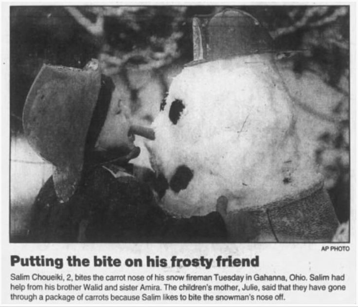 Bite Snowman Nose Wilkes Barre Times Leader 1.5.96