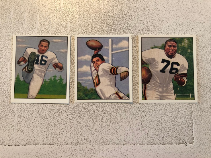 Lou Groza Otto Graham Marion Motley 1950 Bowman football cards