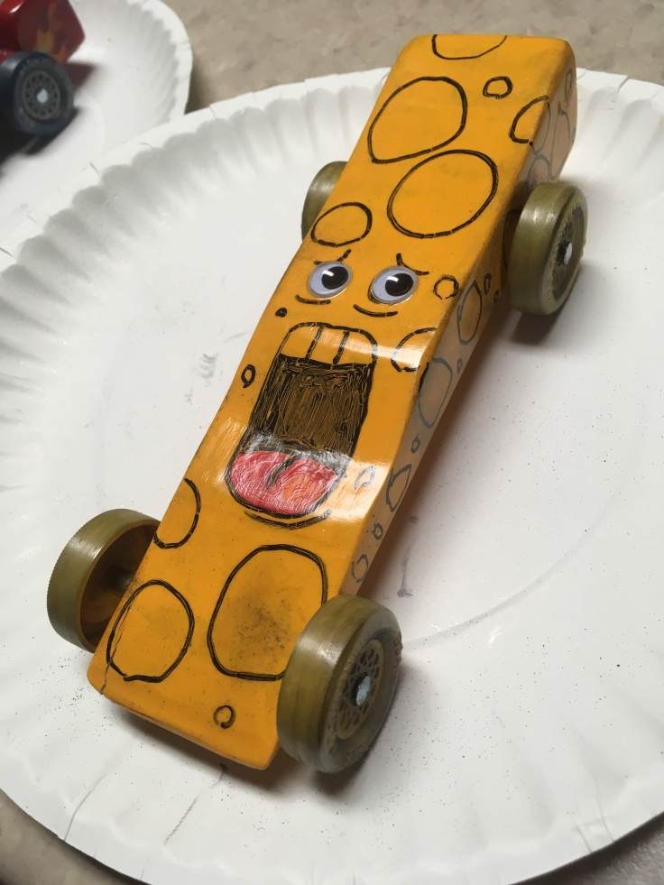Screaming Cheese Pinewood Derby Car