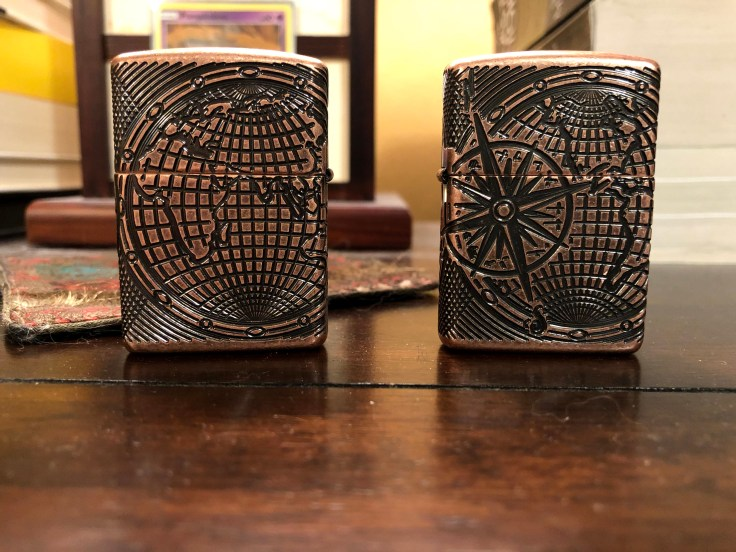 Two Zippo Armor Deep Carve Antique Copper World Map