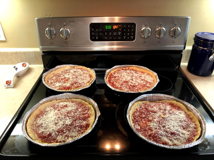 Frozen Deep Dish Pizzas Ready for the Oven